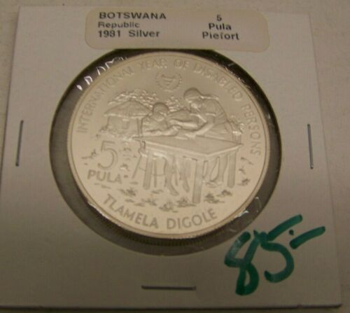 1981 Botswana Republic Coin - 5 PULA  - SILVER - UNC. with DETAILS