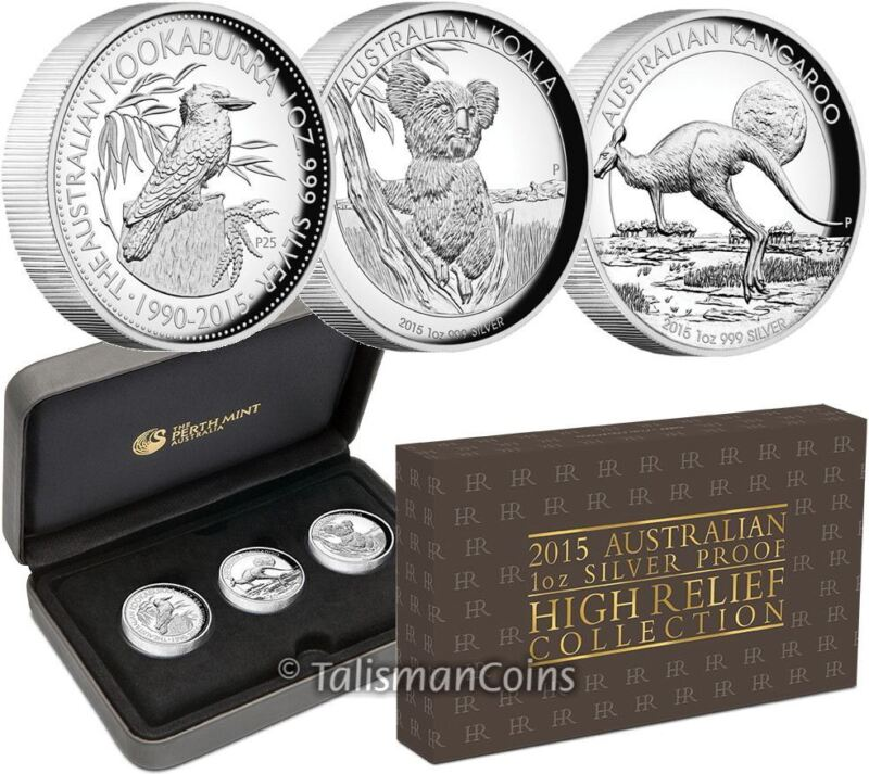 Australia 2015 High Relief Piedfort 3 Coin Silver Proof Set Kangaroo Koala Kooka