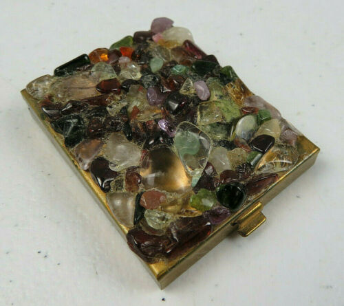 Vintage Genuine Stones Compact Trinket Makeup Gold Tone Powder or Stamps Storage