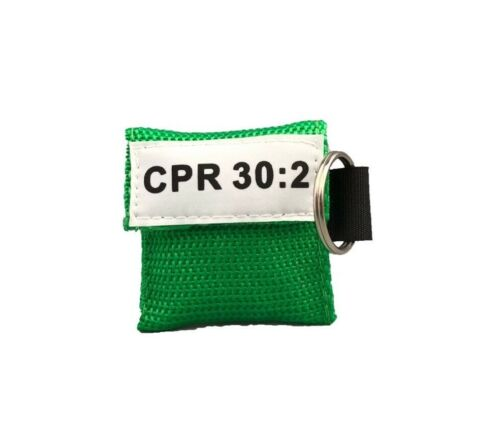 1 Green CPR Face Shield Mask in Pocket Keychain imprinted CPR 30:2