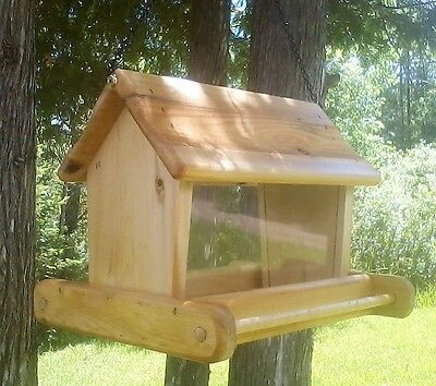 Rustic cute large handmade hanging, cedar wood, square bird feeder, TBNUP #1H