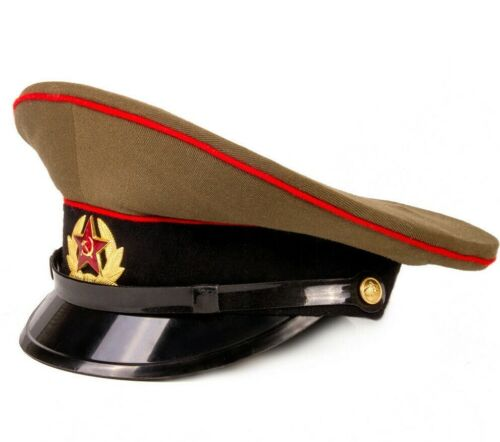 Genuine Soviet USSR Russian Soldier Hat with Military Badge Star Emblem, size 59