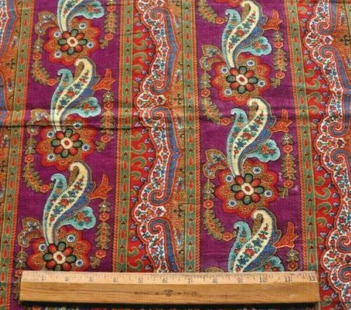 """Beautiful French Antique Printed Wool Chalis Paisley Stripe Fabric~L-21"""" X W-21"""""""