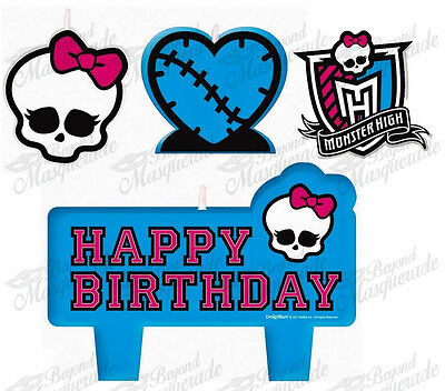 (4ct) Monster High Birthday Girls Party Decorations Cake Topper Candles Set