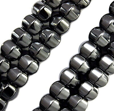 MAGNETIC HEMATITE STONE BEADS PUMPKIN LANTERN HIGH POWER BEAD STRANDS 8X6MM -