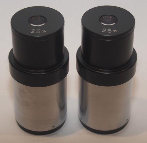 Aus Jena 25X Stereo Microscope Eyepiece Set 34mm Diameter