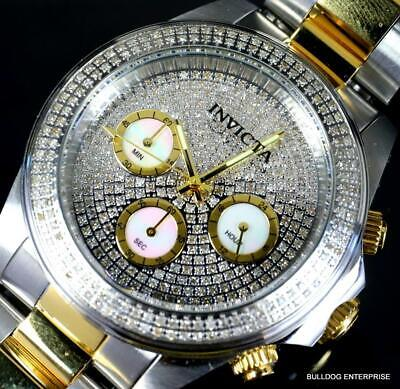 Invicta Speedway 1.76CTW Pave Diamond Two Tone Steel MOP 40mm Watch New