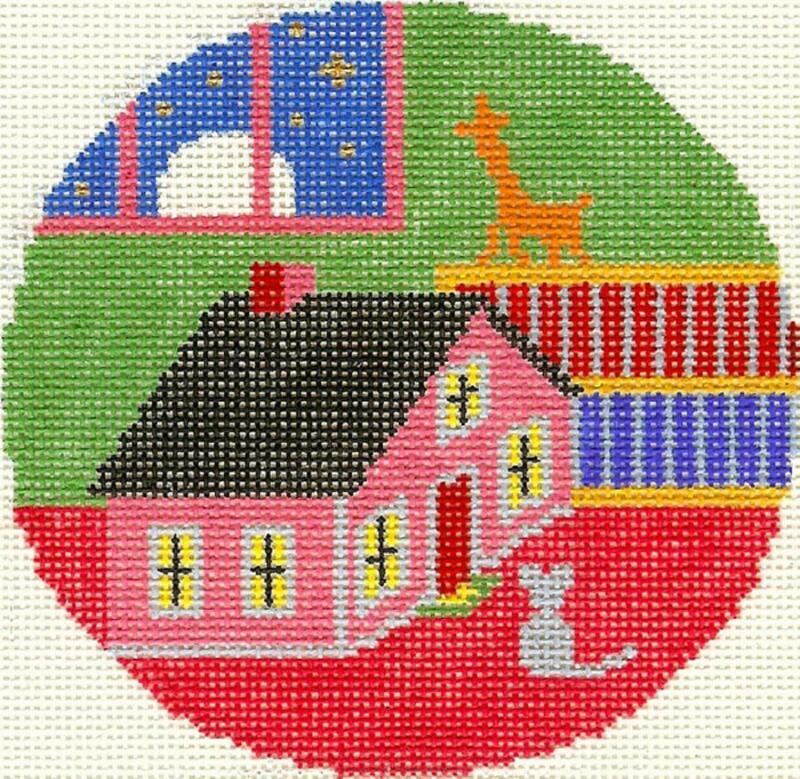 """""""Goodnight Moon"""" & Mouse and House Silver Needle handpainted Needlepoint Canvas"""