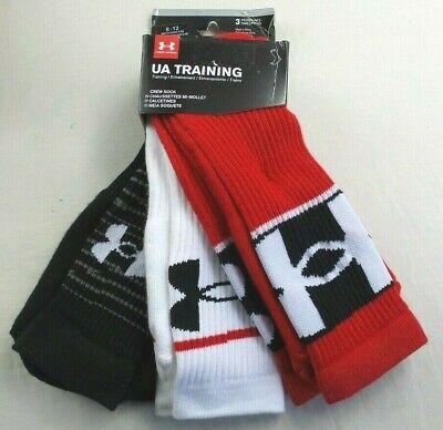 Under Armour Mens Crew Socks 3 Pack 8-12 L Black Red White Training Heatgear New