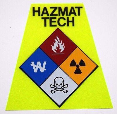 Reflective Fluorescent Yellow HAZMAT Tech Fire Helmet Tetrahedron Tet Trapezoid