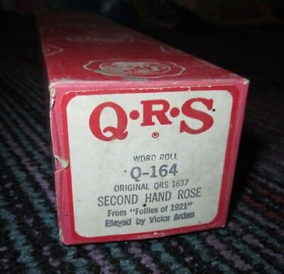 """VINTAGE QRS """"SECOND HAND ROSE"""" PLAYER PIANO WORD ROLL Q-164 (1637), GUC, used for sale  Shipping to South Africa"""
