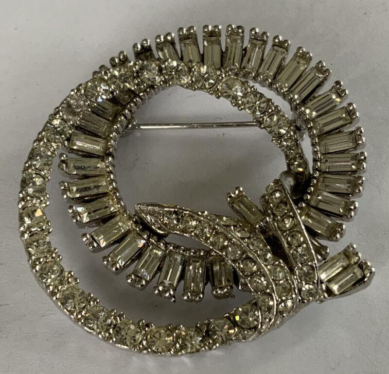 Beautiful Vintage Estate Art Nouveau Silver Fashion Rhinestone Swirl Pin CP166