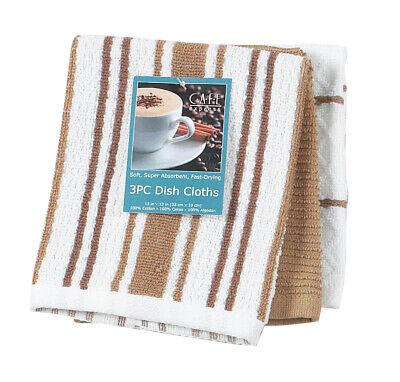 3 Piece Set Kay Dee Designs Taupe Cotton Dishcloths