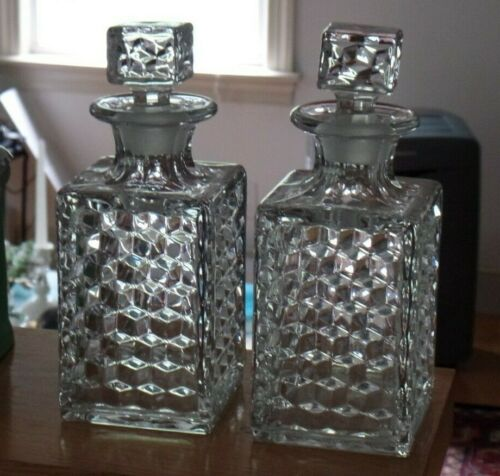 Fostoria American Decanters with Stoppers - Set of 2