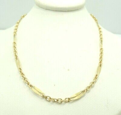 14K Yellow Gold Rolo Open Slit Link Chain Necklace 23.5 Inch  8.2 Grams D9987