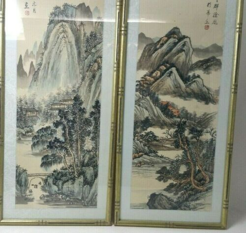 Pair Of Asian Watercolors On Silk Framed Matted By Walter Philadelphia Signed