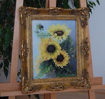 Original Porzellangemälde: Sonnenblumen 2. H. 20. Jh. Signiert S. Röniger