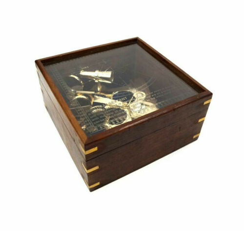 """Large Brass Sextant 7.75"""" w/ Etched Glass Cover Display Wood Case Nautical Decor"""