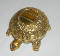 Vintage Linders Taiwan & Japan 4.5 Gold Tone Turtle Hidden Table Alarm Clock