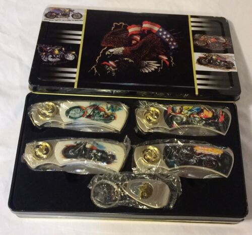 MOTORCYCLE SERIES POCKET KNIVES and KEY CHAIN LOT of 5 w/ TIN ~ NEW GIFT SET
