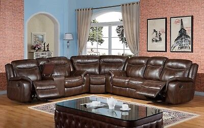 New Braylon Classic Brown Reclining Sectional Sofa In Premium Leather Air Fabric Premium Brown Leather Sofa