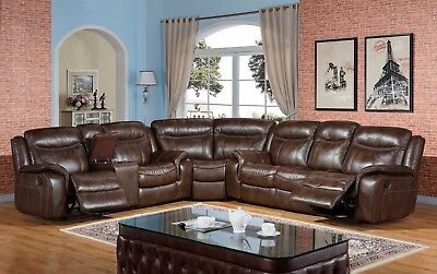 Braylon Classic Brown Reclining Sectional Sofa in Premium Leather Air Fabric Premium Brown Leather Sofa