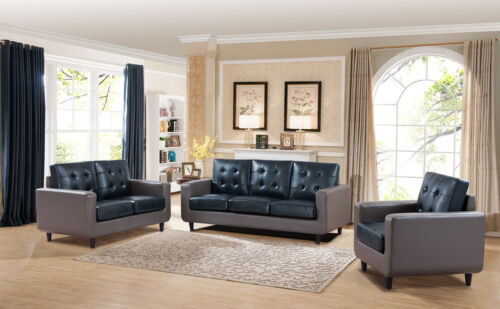 3pcs Modern Gray & Blue Faux Leather Sofa Loveseat & Chair Living Home Furniture