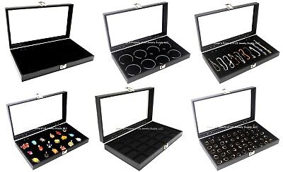 Wholesale 6 Assorted Key Lock Glass Top Lid Collectors Jewelry Display Cases