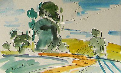 JOSE TRUJILLO California Impressionism Watercolor Painting Hillside SIGNED Art