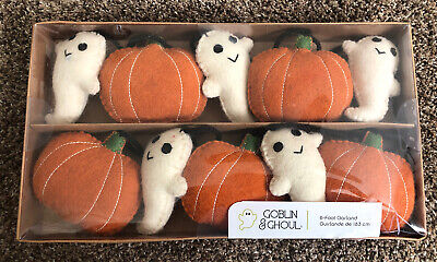 HALLOWEEN CANDY CORN LANE Goblin & Ghoul 6 Foot Felt GHOST & PUMPKIN Garland NIB