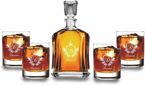 Scotch Decanter Set with 4 Whiskey Glasses - Wedding Groomsmen Gift - Christmas