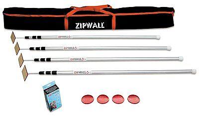 New Zipwall Slp4 4pk Plus Aluminum Poles Spring Loaded Poles Dust Mold System