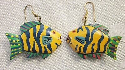 Hand Painted Wood SIAMESE TIGER FISH Pierced Earrings Tropical Artisan Vintage