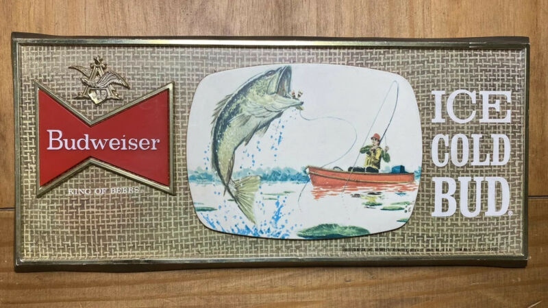 "Vintage 1960s rare Budweiser beer Man fishing Bass sign 14.5""x 6.5"" Very Nice"