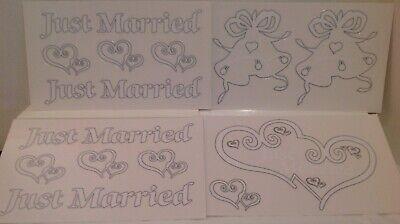 JUST MARRIED BRIDAL CAR WINDOW CLINGS WEDDING DECORATION 14 Total CLINGS Decorating Just Married Car