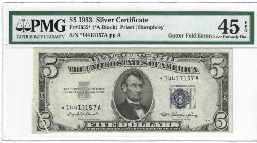 1953* $5 Silver Certificate STAR note ..... Gutter Fold ...... Extremely Rare