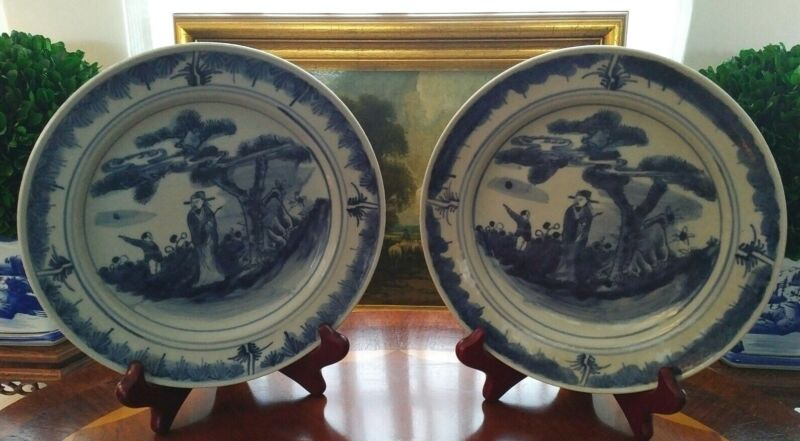 Stunning Pair Blue/White 19th Century Chinese Export Style Porcelain Plates