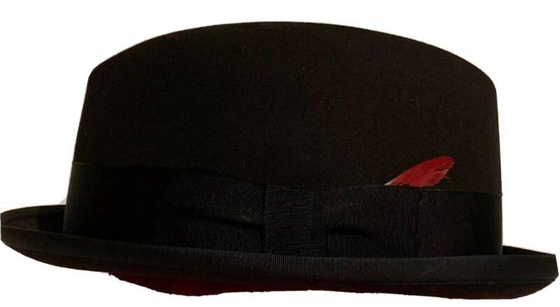 Vintage Parkleigh Gimbels Exclusive Mens Black Fedora Derby Hat Bowler Sz 7 RARE