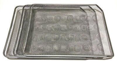 Metal Mesh Sliding Paper Tray Replacement For Desktop Organizer Rack Set Of 3