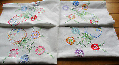 VINTAGE LINEN TABLECLOTH HAND EMBROIDERED  FLOWERS