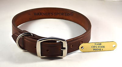 "WARNER CUMBERLAND LEATHER DOG COLLAR  Rich Brown  1"" X 27"" WITH FREE BRASS TAG on Rummage"