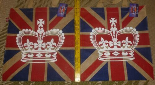 """Lot/2 New w/ Tags GLORIOUS BRITAIN JUTE BAGS 16"""" x 15"""" w/ England"""