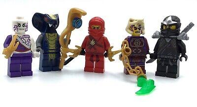 LEGO LOT OF 5 NINJAGO MINIFIGURES SLITHERA SNAKE KAI COLE FIGURES WITH WEAPONS