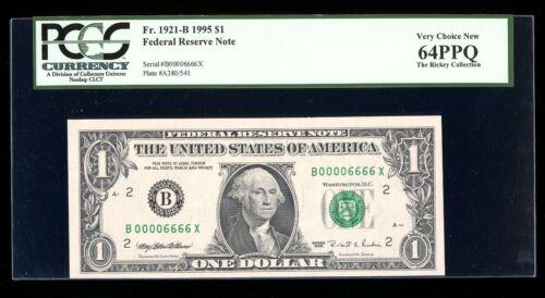 DBR 1995 $1 Binary 6/0 New York Fr. 1921-B PCGS 64 PPQ Serial B00006666X
