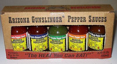 Arizona Gunslinger Hot Pepper Sauce Mini 5 Pack Variety 3/4oz bottles