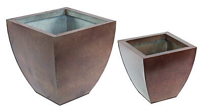 Copper Colour Finish Metal Garden Indoor Square Planter Pot Set of 2 - NEW
