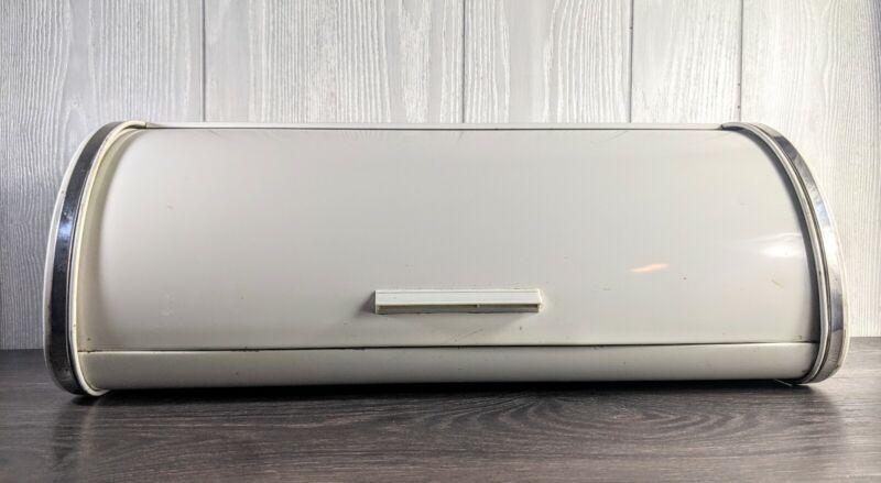 "Brabantia Roll Top Bread Box White Metal & Chrome 17.5"""