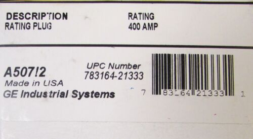 GENERAL ELECTRIC GE SRPG400A400 SPECTRA RMS Circuit Breaker Rating Plug 400 Amp