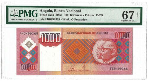 ANGOLA 1000 Kwanzas 2003 P-150a, Banco Nacional PMG 67 EPQ Superb Gem UNC