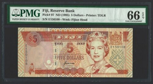 1996 FIJI $5 Dollars P-97, Scarce & Underrated Type, PMG Gem UNC 66 EPQ, QEII